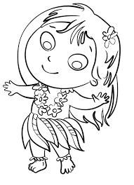 Disegno Per Bambini Da Colorare Gratis Bambina Danza Havaiana Hawai