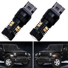 Jeep Jl Led Fender Lights Jeep Wrangler Jl Led Turn Signals Front Fender Lights With Switchback White Drl Amber Turn 2018 2019 Sport Sport S Lighting Accessories