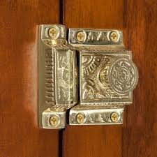 Solid Brass Cabinet Latch with Flower Knob - Hardware