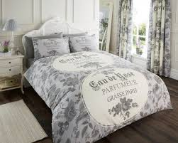 iola scripted grey single double king size quilt duvet cover sets
