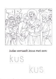 Kleurplaat Judas Verraadt Jezus Met Een Kus Bijbel Knutsels