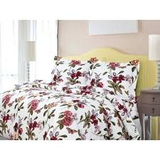 blossoms flannel luxury 3 piece printed duvet cover set free today comforter queen stripe flannel duvet cover