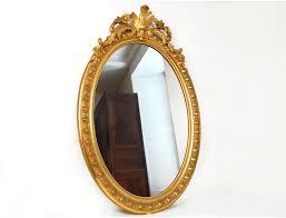 louis xv oval mirror glass wooden frame stucco golden flowers napoleon iii nineteenth