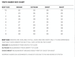 Rubber Duck Size Chart Wader Sizing Guides