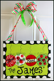 Christmas Ornament Painting on Canvas Hand by, painted door hangers ...