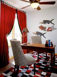red black home office. Eclectic Home Office In Red And Black Hues ,