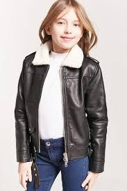 girls faux shearling moto jacket kids