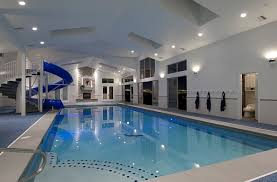 Interesting Residential Indoor Pool With Slide An Attached Sauna And Shower On Simple Design