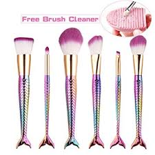 best makeup brushes mermaid. prettydiva mermaid makeup brushes, 6pcs fishtail cosmetic brushes set with free cleaner best