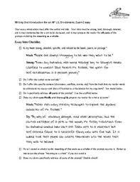 ap literature and composition essay intro checklist ap ap literature and composition essay intro checklist