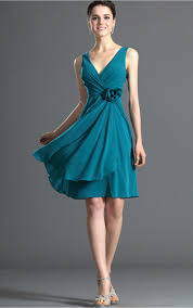 Abendkleider-Shop | Attraktive Blau A-Linie Knielang V-Ausschnitt ...