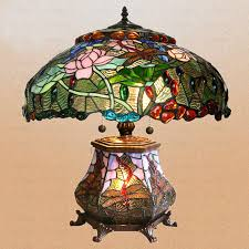 timeless tiffany style dragonfly table lamp mother child stained glass shade