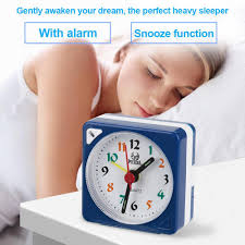 mini travel table alarm clock quartz led light with snooze function battery operated blue