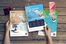Design Flyer App Mobile App Flyer In Flyer Templates On Yellow Images