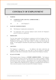Job Contract Template Sample Of Contract Employment Useful Representation Webtrucks 9