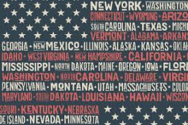 american flag word art