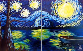 how to paint starry night at the lake set s only