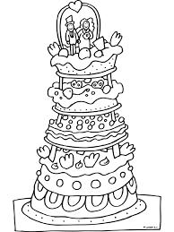 Kleurplaat Bruidstaart Gebak Kleurplatennl Bruiloft