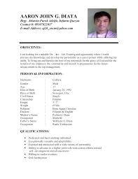 Sample Objectives For Resumes Sample Resume For Ojt Students Best Resume Gallery 99