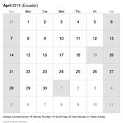 Calendario 2019 Con Festività Da Stampare Ecuador Super Coloring