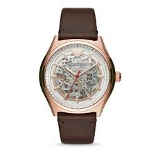 ar60005 men s rose gold skeleton automatic watch with a brown leather strap