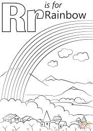 Letter R is for Rainbow coloring page | Free Printable Coloring Pages