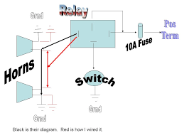 two wire horn relay diagram basic wiring queenz kustomz connecting Nighthawk Light Tower Wiring Diagram coupe aftermarket horn install using existing wiring ford 1965 coupe aftermarket horn install using existing wiring Light Wiring Diagrams Multiple Lights
