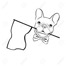 ブルドッグ犬動物フランスベクトルイラストペット犬かわいい子犬を描画