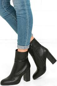 chic black mid calf boots high heel boots vegan leather boots 39 00