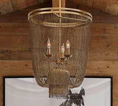 atherton antique brass chainmail chandelier