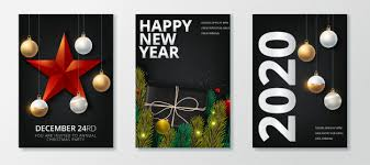 Happy new year 2020 and merry christmas greeting card set Vector ...