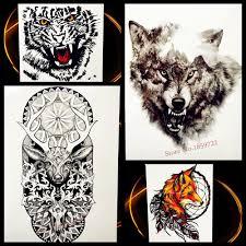 купить оптом лес древесины волк водонепроницаемый временные татуировки черные