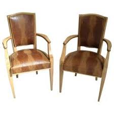 pair of 1940 this side chairs birch with real leather in crocodile print art deco desk chair office side armchair