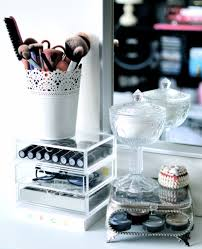 makeup brush holder is actually a small plant pot from ikea brushes are mostly real techniques all are dirty been putting it off acrylic drawer set