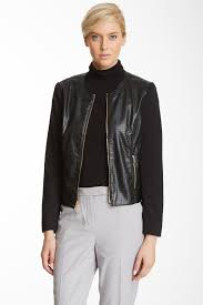 image of jones new york perforated faux leather jacket