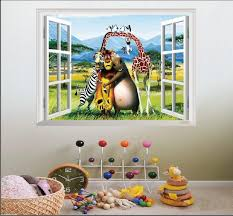 cartoon wall stickers fake window animals madagascar poster zebra hippo penguin lion adventure story child room decorations pvc wall paper letter wall