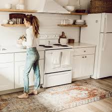 stylish area rugs in kitchen regarding love this patterned rug by the sink for the home