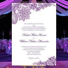 Wedding Invitations Templates Purple Vintage Lace Wedding Invitation Purple Wedding Template Shop