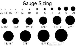Gauge Earrings Sizes Chart The Best Produck Of Earring