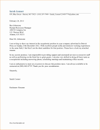 Cover Letter Front Desk Cover Letter Sample Receptionist Resume