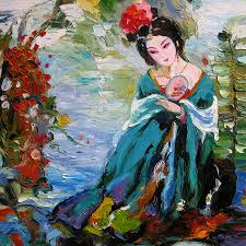 opera painting palette knife oil painting a woman of chinese opera by enxu zhou
