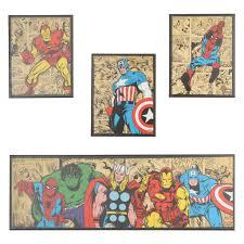 Marvel Bedroom Marvel Superheroes Canvas Art Prints Set Of 4 Home Vintage And