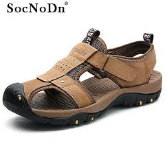 product images gallery socnodn men fashion leather outdoor sandals summer