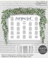 Etsy Wedding Seating Chart Alphabetical Alphabetical Seating Chart Wedding Seating Chart Template Printable Diy Seating Plan Seating Chart Poster Sign Modern