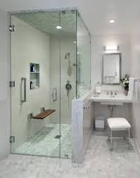 in shower lighting. Teak Benches Bathroom Transitional With Flip Down Shower Bench Hex Tile Hexagon Recessed Lighting Rectangular Mirror In