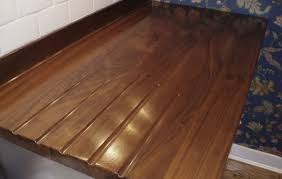 wide plank wood countertop details