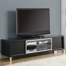 decoration: Simple Black LED TV Right For Unusual Tv Stands On Wood Floor  With DVD