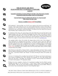Fleetwood Mac Original Rhino Press Release Warner Music Sweden