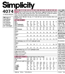 Simplicity Pattern Size Chart What Pattern Size Are You
