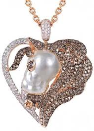 australian south sea pearl pendant in rose gold 18k with cognac white diamonds by mario buzzanca